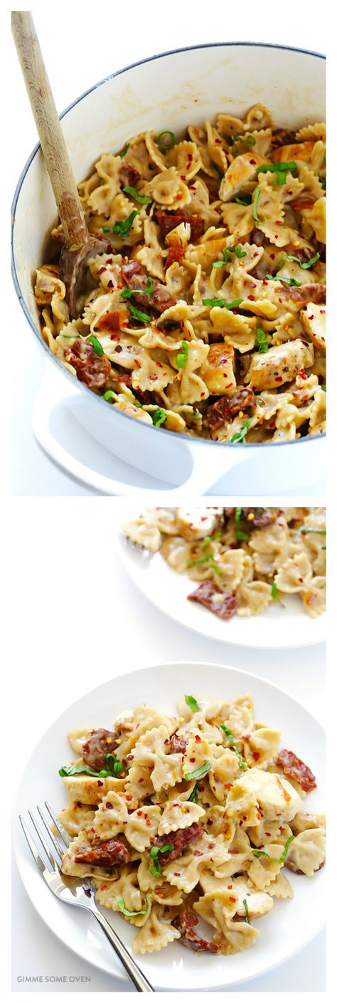 Creamy Pasta with Chicken & Sun-Dried Tomatoes -- made with a lightened-up alfredo sauce, and ready to go in 30 minutes   gimmesomeoven.com