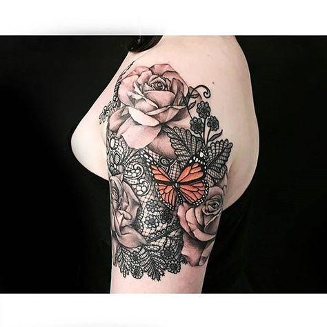 Monarch and Roses With artist: @karen_tattoo _ #workproud #wearproud