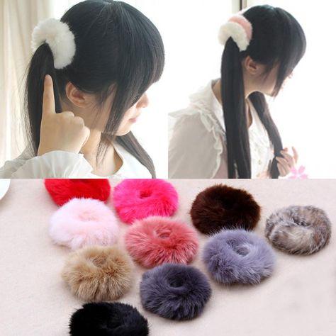 NEW 2016 Korean Cute Trendy Warm Soft Fake Rabbit Fur Woman Elastic Hair  Rope Bands Girls Hair Accessories Rubber Band Headwear  model  sweet   stylish ... 9ec0b180786