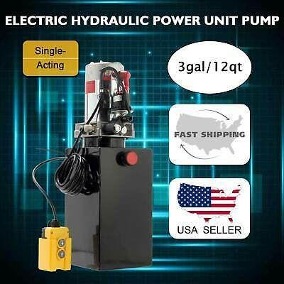 12v Single Acting Hydraulic Pump Dump Trailer 12 Quart Metal Reservoir In 2020 Hydraulic Pump Pump And Dump Hydraulic Cylinder