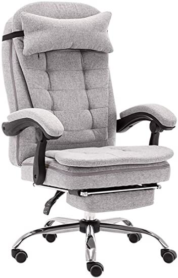 Hgna Chairs Office Chair With High Back Footrest And Tilt Function Executive Swivel Computer Chair Linen Fabric Gray Ergonomic Chair Swinging Chair Chair