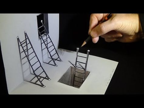 Art 3d Drawing How To Draw Ladders Optical Illusion Youtube Illusion Drawings Optical Illusions Art Optical Illusion Drawing