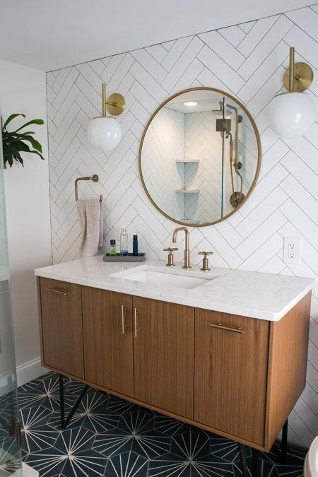 Tiny Master Bathroom Renovation Round Mirror Vanity Bathroomdesign In 2019 Bathroom Bathroom Renovations Bathroom Flooring