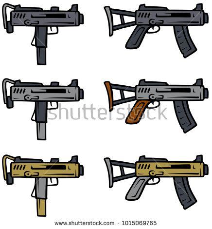 Cartoon submachine guns isolated on white background  Vector
