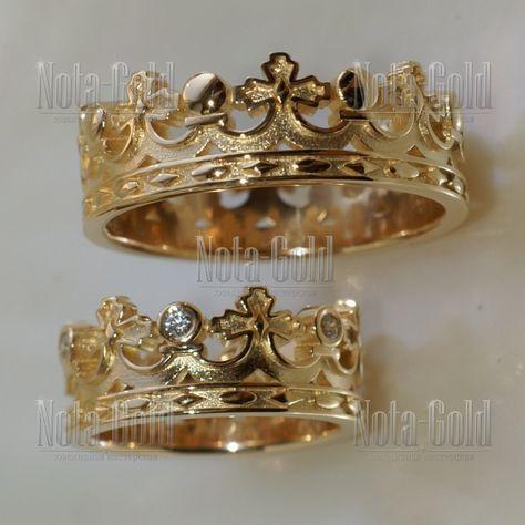 nr0070 Парные обручальные кольца корона с бриллиантами в женском кольце на заказ (Вес пары: 15 гр.) | Купить в Москве - Nota-Gold