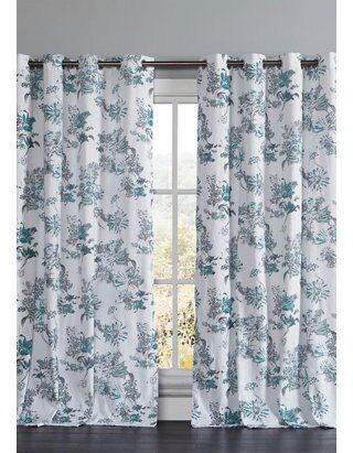 Set Of 2 Alice Floral Cotton Window Curtains In 2020 Panel