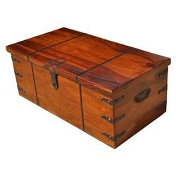 Large Solid Wood With Metal Accents Storage Trunk Coffee Table