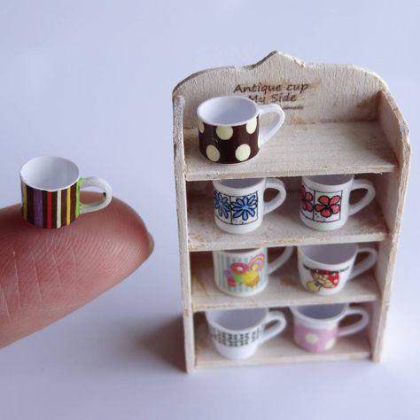 Set of 4 Mugs of Lemon Lipton Tea Dollhouse Miniatures Food Supply Deco
