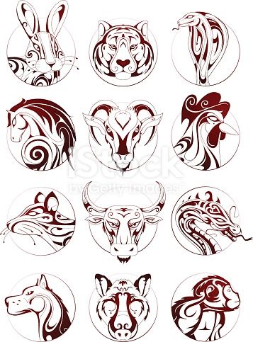 Set Of Chinese Zodiac Astrological Signs As Ink Sketches In Circle Tatouage Signe Astrologique Signe Chinois Tatouages De Symboles Chinois