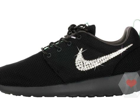 Women s Nike Roshe One in Black w  Swarovski crystal clear - Nike Swarovski  - Bling Nike Shoes - Custom Nikes - Workout Shoes - Crystahhled d93cd6b32c