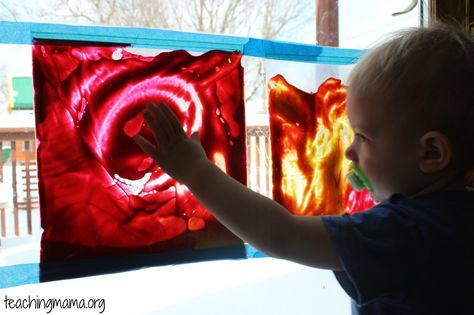 Place paint in a gallon sized Ziploc bag. Seal the bag, then tape them to a window. Let your toddler move the paint around in the bag using ...