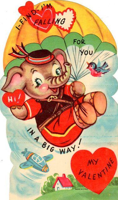 Falling For You Vintage Valentine Vintage Valentines Vintage Valentine Cards Vintage Valentine Greeting Cards
