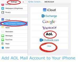 On Your Iphone Goes On The Settings Icon Add Aol Mail Account To Your Iphone Scroll Down Under The Settings Choose Th Aol Email Mail Account Email Account