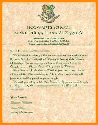 Harry Potter Birthday Invitation Template Harry Potter Invitation