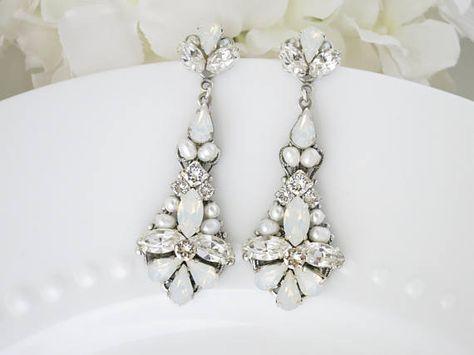 White Opal Wedding Earrings Swarovski Statement Jewelry