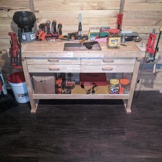 60 In 4 Drawer Hardwood Workbench In 2020 Workbench Workbench Plans Diy Wooden Shapes