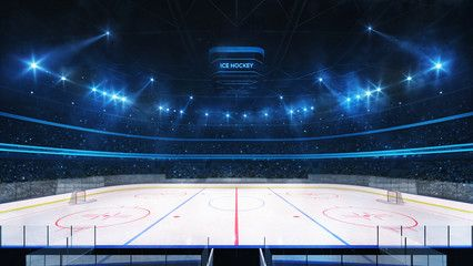 Grand Ice Hockey Rink And Illuminated Indoor Arena With Fans Tribune Side View Professional Ice Hockey Sport 3d Rend Indoor Arena Ice Hockey Rink Hockey Rink
