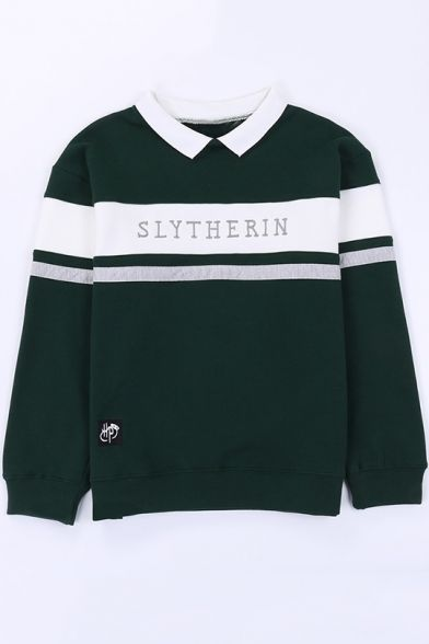Fashion Letter Gryffindor Print Colorblock Lapel Collar Long Sleeve Pullover Sweatshirt Slytherin Hoodie Harry Potter Outfits Harry Potter Shirts