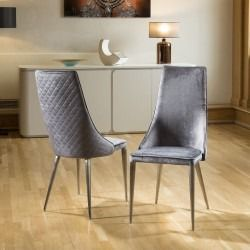 Set Of 2 Sleek Velvet High Back Modern Dining Chairs Grey Fabric