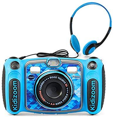 Amazon Com Vtech Kidizoom Duo 5 0 Deluxe Digital Selfie Camera With Mp3 Player Headphones Blue Toys Games Kids Camera Mp3 Player Headphones