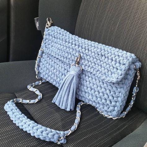 eb36cefa3c25 Сумка из трикотажной пряжи | carteras y accesorios a crochet ...