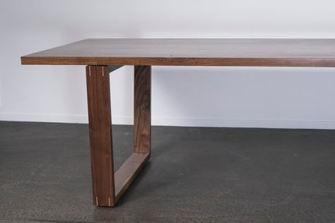 Solid Walnut Dining Table Floating Wide Set Walnut Trapezoid