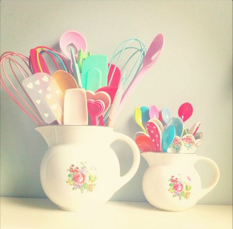 Girly kitchen utensils from Coco Rose Diaries <3 @Carrie Dixon, this reminds me of you!