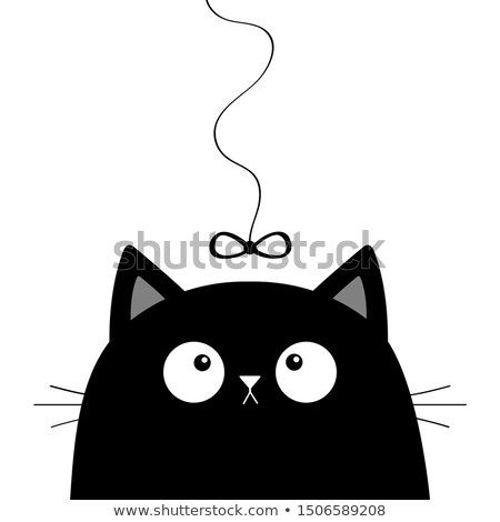 Stock Photo Black Cat Head Face Looking At Bow Hanging On Thread