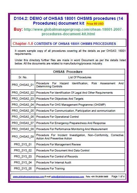 OHSAS 18001 Procedures (14 procedures) document kit covers sample - procedure manual template