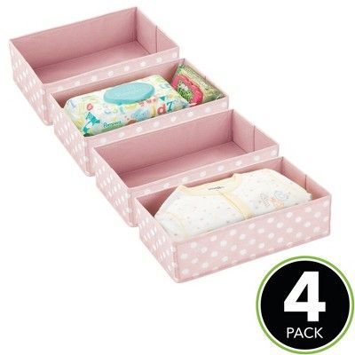 Mdesign Fabric Child Kids Dresser Drawer Organizer Storage 4 Pack Pink White In 2020 Dresser Drawer Organization Storage Drawers Dresser In Closet