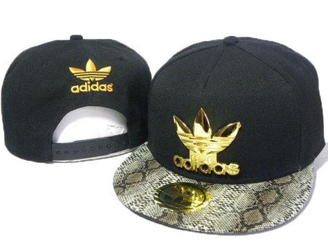 Mens Adidas The Adidas Original Gold Metal Logo Fashion Faux Snakeskin  Leather Visor Snapback Cap 46eefa88f8b