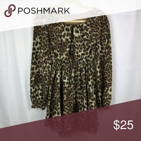 e3d8009d53 Umgee Leopard Animal Print Long Sleeve Boat Neck Umgee Leopard Animal Print  Long Sleeve Boat Neck Dress Size Medium Mesh Lined Pre Owned Good Condition.