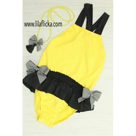 703c50afa2af Bañador amarillo y negro mon petit bonbon | Mon Petit Bonbon verano 2019