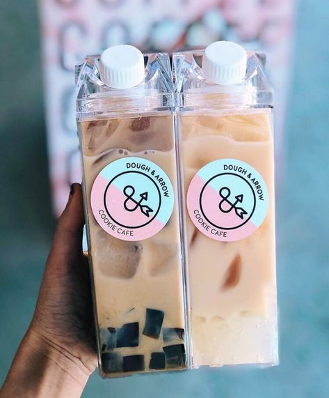 Boba with adorable reusable milk cartons! 💚 - Grab these milk cartons now back in stock and on special now! - For bubble tea merch,… Cute Water Bottles, Reusable Water Bottles, Drink Bottles, Plastic Bottle, Aesthetic Coffee, Aesthetic Food, Aesthetic Green, Journal Aesthetic, Flower Aesthetic