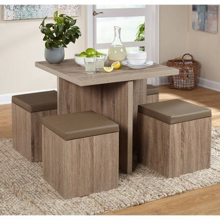 5 Piece Space Saving Dining Set Table And Storage Ottomans