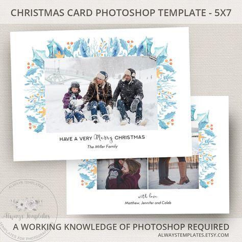 Holiday Card Template Christmas Photo Photoshop PSD 5x7