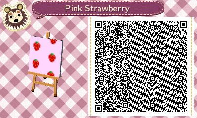 Qr Code For A Pink Wallpaper With Strawberries In Animal Crossing
