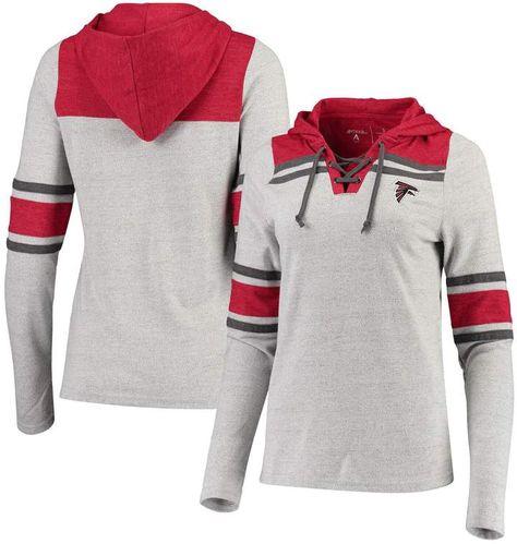 Antigua Women's Heathered Gray Atlanta Falcons Wrestle Hooded V-Neck Pullover Top