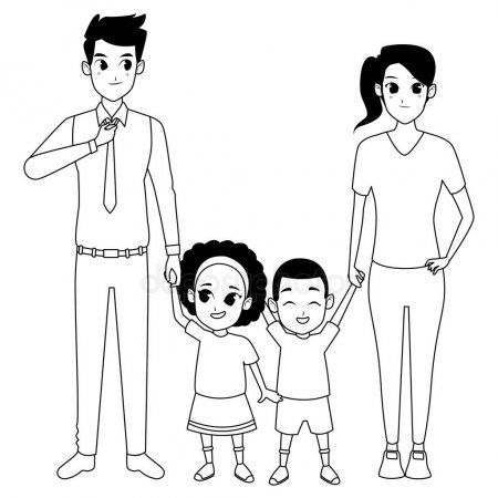 Family Young Parents With Little Kid In Black And White Stock Vector Aff Parents Kid Family Black And White Drawing Young Parents Cartoons Vector