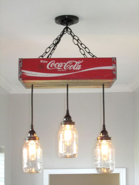 Your place to buy and sell all things handmade Coca Cola Chandelier/Ceiling Light with Mason Jars- Red- Mason Jar Lighting Rustic Lighting Vintage Coca Cola Mason Jar Decor Rustic Mason Jar Chandelier, Chandelier Ceiling Lights, Mason Jar Lighting, Bottle Chandelier, Pendant Lighting, Diy Chandelier, Mason Jar Light Fixture, Chandeliers, Vintage Coca Cola