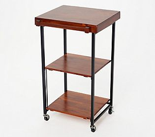 Oasis Folding Kitchen Storage Cart W Acacia Wood Shelves Locking Wheels Qvc Com In 2020 Kitchen Storage Cart Wood Shelves Kitchen Storage