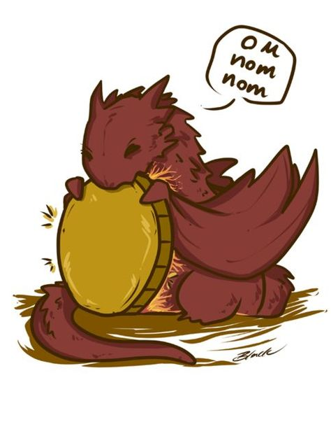 The Hobbit - Chibi Smaug On Nom Nom by caycowa on DeviantArt----it's a baby Smaug! Who wouldn't pin a baby Smaug!
