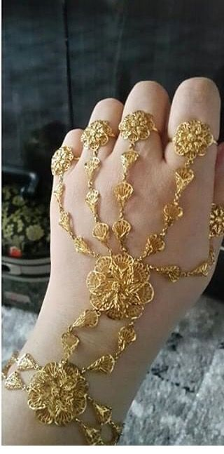 Chain Bracelet With Rings Gold Jewelry Fashion Bridal Gold Jewellery Turkish Gold Jewelry