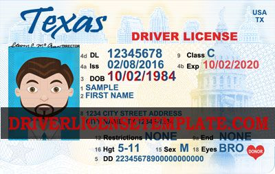 Texas Drivers License Id Card Template Templates