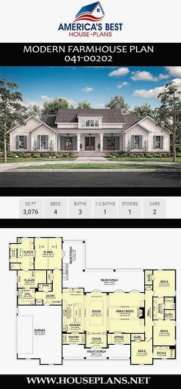 34 Stunning Home Office Renovation Diy In 2020 Modern Farmhouse Plans House Plans Farmhouse Basement House Plans