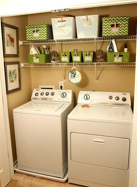 If you make great use of your vertical space, then a small laundry room can be functional and attractive.  #laundryroom #organize #verticalspace