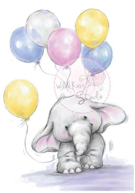 Elephant Bella Balloons Clear Unmounted Rubber Stamp Wild Rose Studio CL227 New | eBay