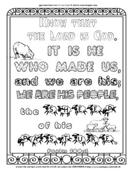 Psalm 100 3 Coloring Page And Word Puzzles Psalm 100 Psalms