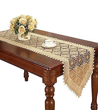 Simhomsen Super Long Beige Lace Table Runner Embroidered 16 By 144