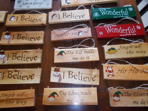 Christmas Signs Wood Burning Pyrography And Acrylic Paint